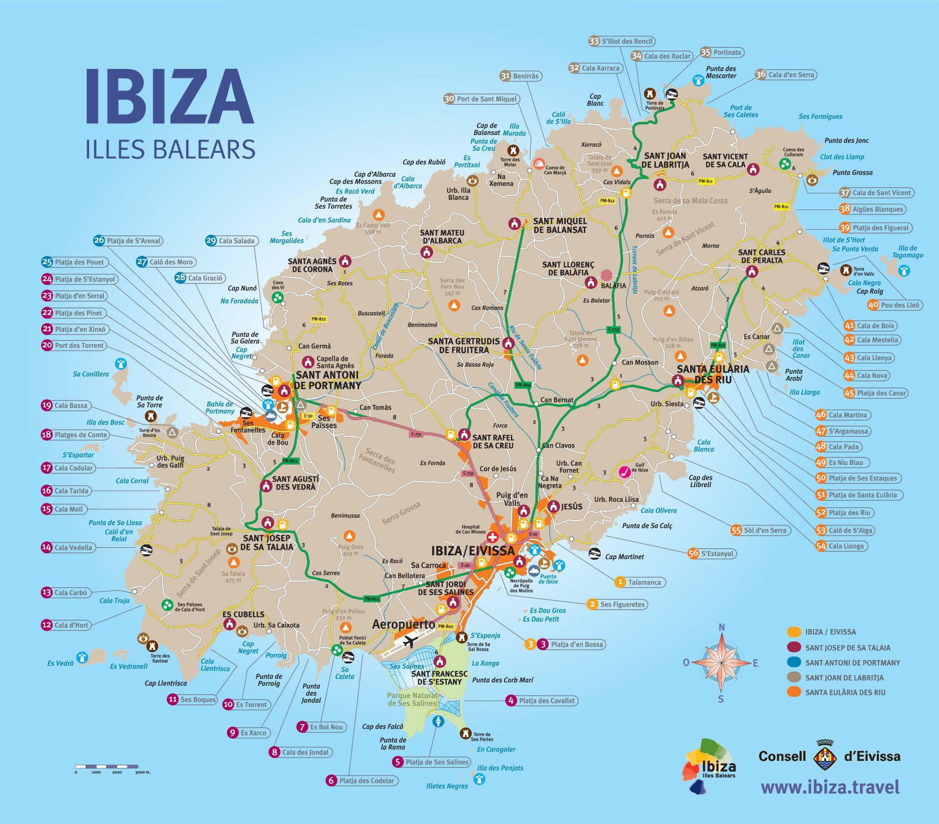 Playas de Ibiza MAPA